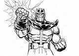 Thanos Coloring Pages Easy Comic Children Printable Super sketch template