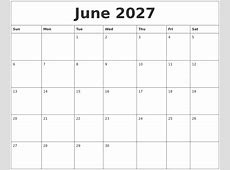May 2027 Calendar Monthly