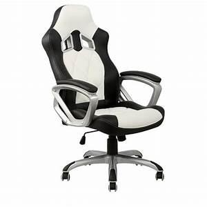 Bureau Noir Et Blanc : chaise de bureau blanche et noire racing achat vente ~ Melissatoandfro.com Idées de Décoration
