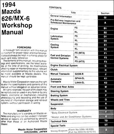 best car repair manuals 1994 mazda mx 6 transmission control 1994 mazda 626 mx 6 repair shop manual original