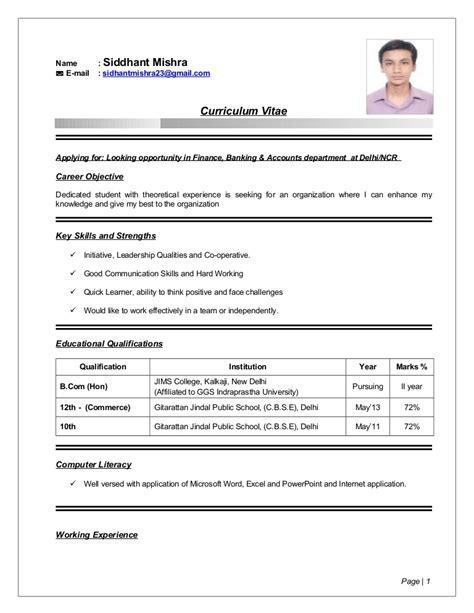 13915 resume format for freshers bcom siddhant mishra resume b