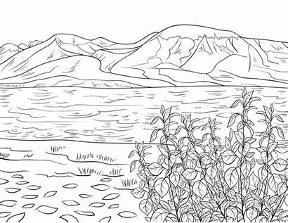 Coloring Mountain Lake Printable Landscape Adult Summer