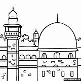 Mosque Coloring Aqsa Al Masjid Dome Pages Islamic Famous Jerusalem Places Coloriage Ramadan Colouring Eid Landmarks Outline Template Colored Creative sketch template