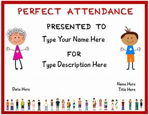 Perfect Attendance Certificate Template Education Certificates Certificate For Perfect Attendence