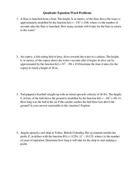 quadratic formula word problems worksheet quadratic equation word problems