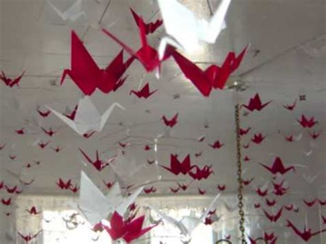 origami hanging mobiles  red white paper cranes youtube