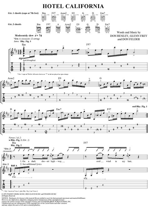 Guitar  Guitar Tabs For Hotel California Guitar Tabs For  Guitar Tabs For Hotel' Guitar Tabs