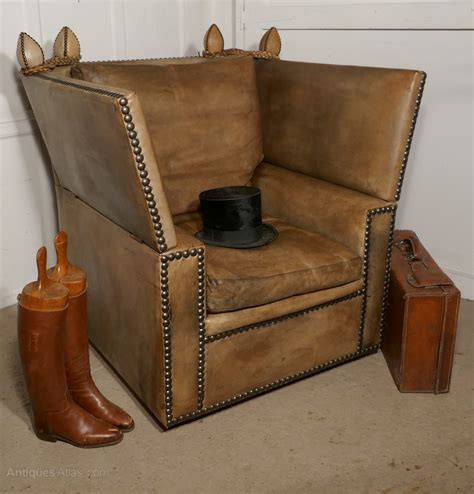 Knole Settee by Large Leather Knole Settee Arm Chair Antiques Atlas