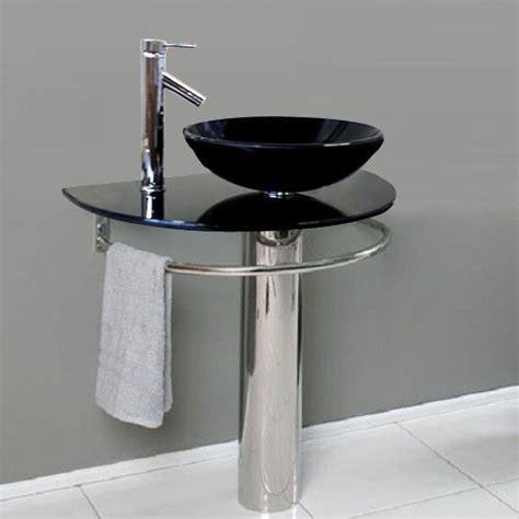 Glass Bathroom Sinks And Vanities by Bathroom Pedestal Tempered Black Glass Vessel Sink