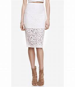 Express High Waist Crocheted Lace Midi Pencil Skirt in ...