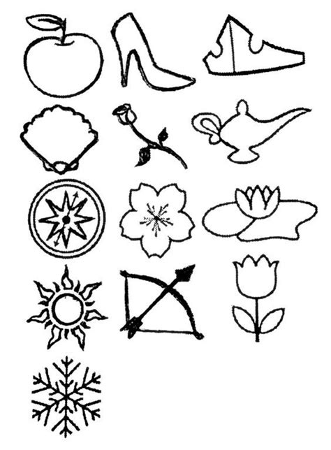 Disney Princess - disney princesses tattoo with a symbol for each, in chronological order left