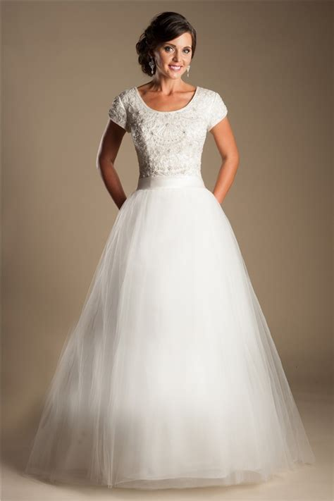 modest ball gown scoop neck short sleeve tulle beaded