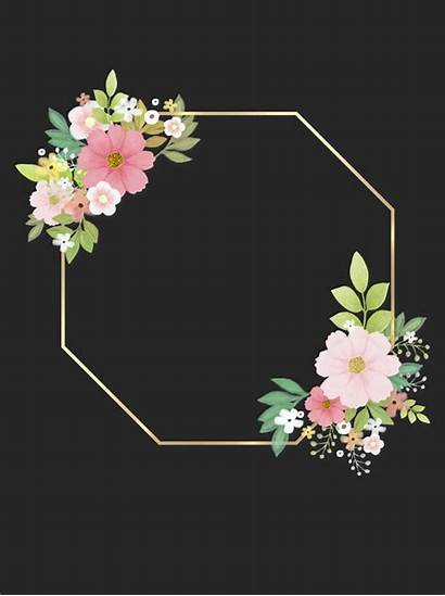 Frame Floral Background Golden Business Flower Border