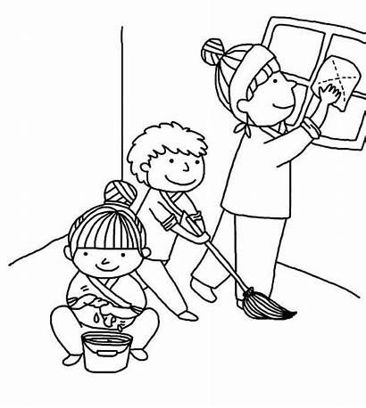 Cleaning Coloring Helping Pages Kindness Mother Clipart