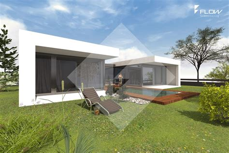 moderner bungalow in u form mit windgesch 252 tzter terrasse by www flow architektur de building