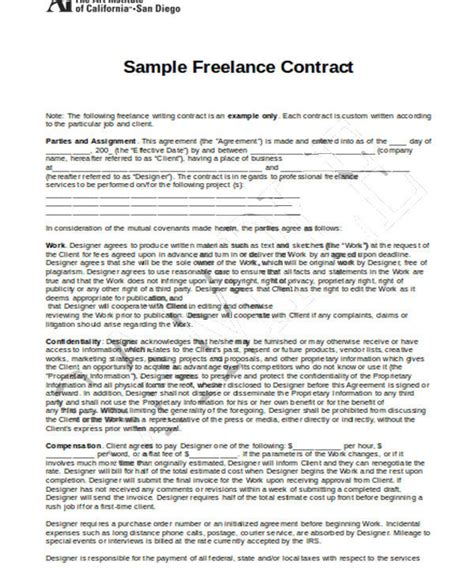 freelance contract templates docs word pages