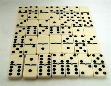 chinese black leather fu 28 piece dominoes box set game
