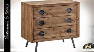 Commode Bois Et Metal : commode industrielle vintage bois et m tal 3 tiroirs int rieurs styles ~ Teatrodelosmanantiales.com Idées de Décoration