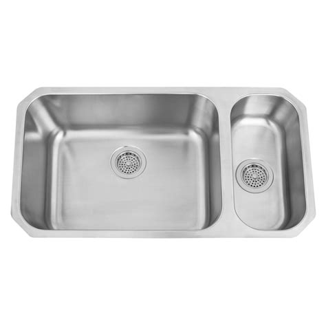 stainless steel undermount sink 32 quot infinite wide 80 20 offset double bowl stainless steel