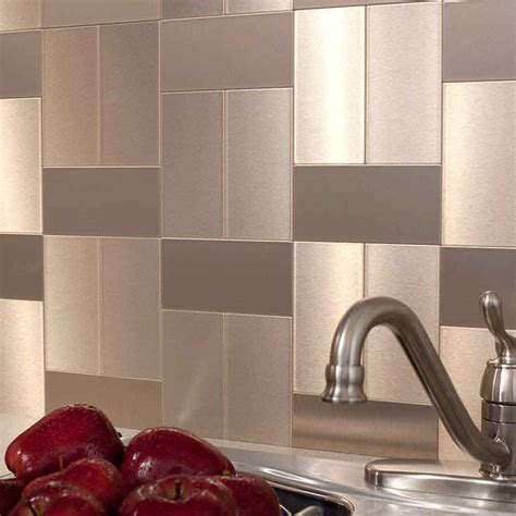 Metal Wall Tiles Kitchen Backsplash by Show Details For Aspect 3 Quot X6 Quot Brushed Chagne
