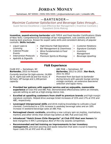 Bartender Resume Templates by Bartender