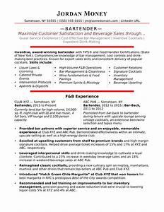 Bartender resume sample monstercom for Bartender resume template