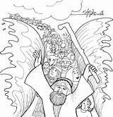 Moses Coloring Sea Crossing Printable Bible Sheet God Craft Printables Testament sketch template