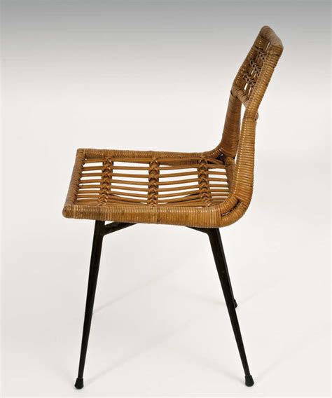 chaise en rotin but modernist rattan chairs on metal frame at 1stdibs