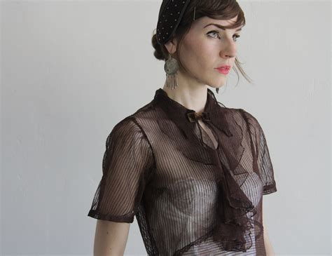 mesh blouse reserved 1940s sheer blouse vintage mesh top ruffle front