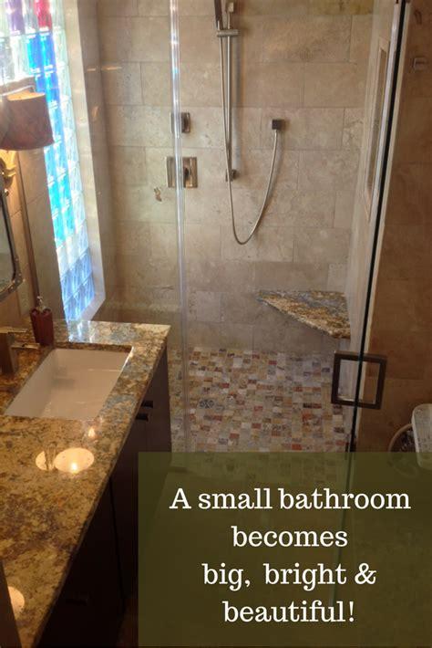 small columbus ohio bathroom remodel   colored glass