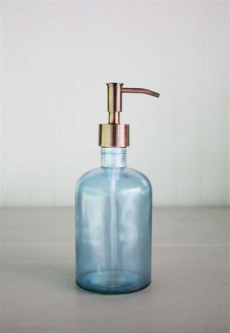 recycled glass soap dispenser beach sea glass blue