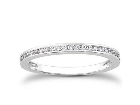 slender channel set diamond wedding ring band   white