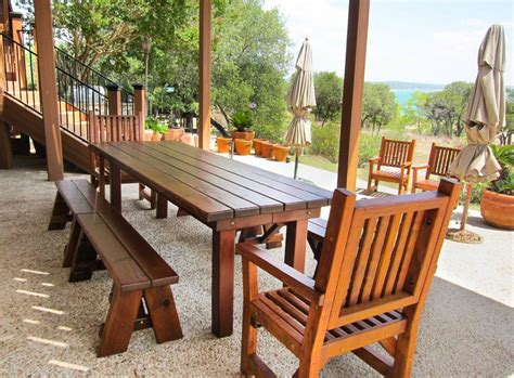 Patio Table With Bench Seating by Redwood Patio Table Custom Made Redwood Dining Tables