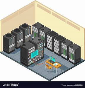 Isometric Network Server Room With Row Of Computer