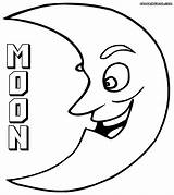 Moon Coloring Pages Crescent sketch template
