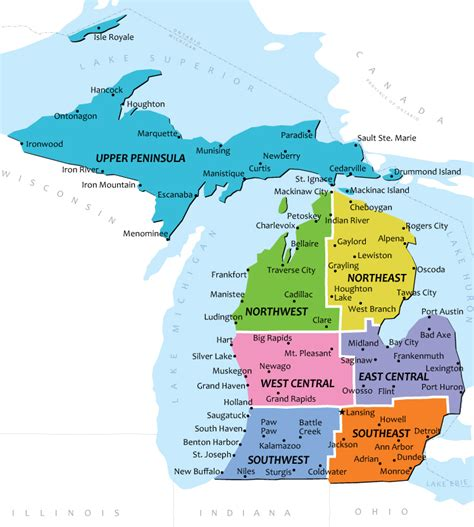 Map of Upper Peninsula Michigan Cities