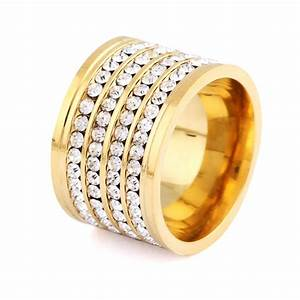 shining full 4 row crystal rhinestone gold stainless steel With gold wedding rings for men and women