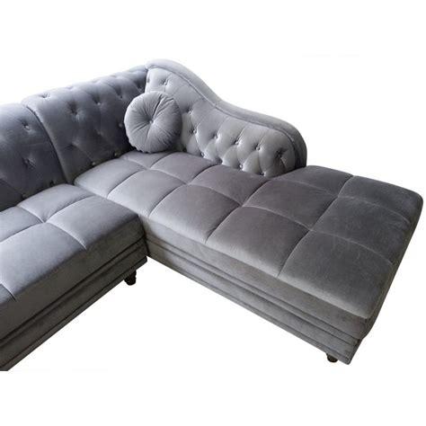 canape d angle velours canapé d 39 angle chesterfield en velours gris argent droit