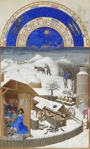 Facsimile, Of, February, Farmyard, Scene, With, Peasants