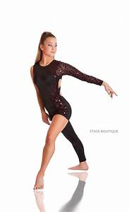 Zeal Red Black Sequin Unitard Contemporary Dance Costume