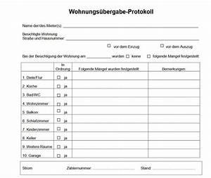 übergabe Einer Mietwohnung : wohnungs bergabeprotokoll download ~ Lizthompson.info Haus und Dekorationen