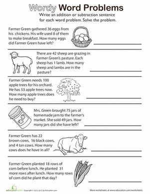 wordy word problems add  subtract worksheet