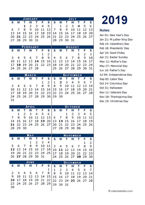 full year calendar template  page