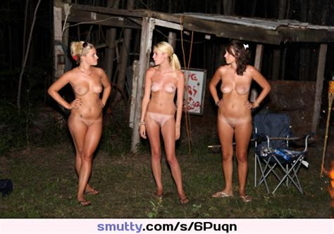 Group Amateur Nude Smiling Chooseone Left Camping