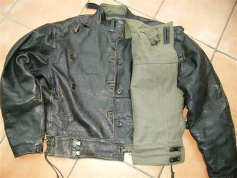 Leather Swedish Army Dispatch Riders Motorcycle Tanker