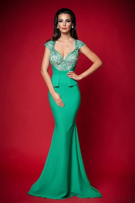 gorgeous green long formal dress pictures