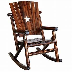 Leigh, Country, Char-log, Star, Cutout, Porch, Rocker, Chair