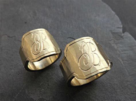 buy  hand crafted mens signet ring brass engraved monogram ring big signet ring