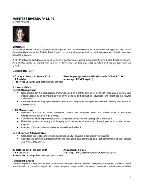 Hr Generalist Functional Resume by Cv April 2015 Hr Generalist Maritess Phillips