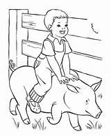 Coloring Boy Farm Pig Ride sketch template